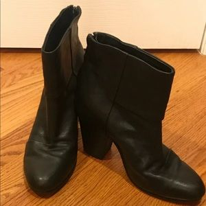 Rag and bone leather black ankle boots